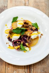 Salt baked beetroot salad, with goats curd, smoked anchovy, pickled shallots, hazelnuts and a mustard vinaigrette