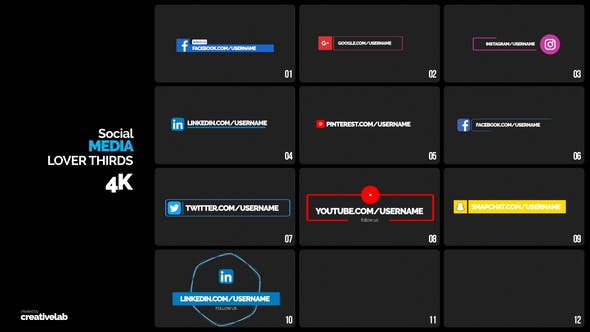 Social Media Lower Thirds Premiere Pro Templates