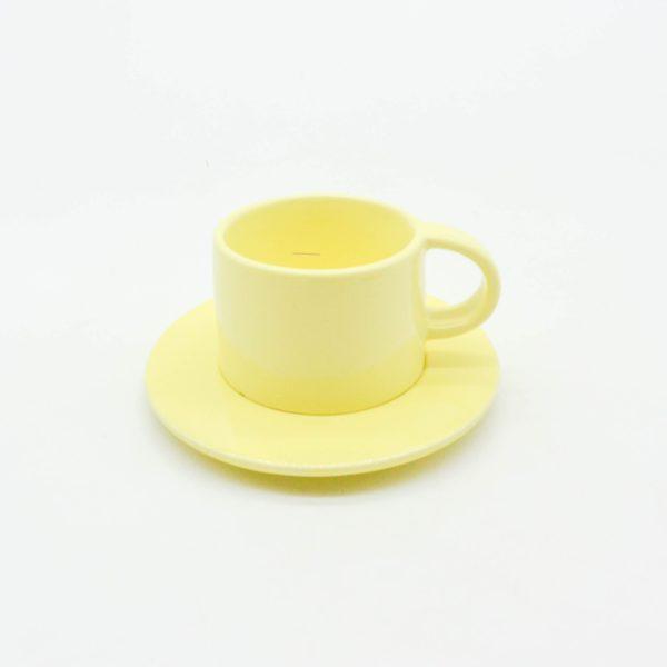 minh tien ceramic morning 04 set saucer handmade yellow view above