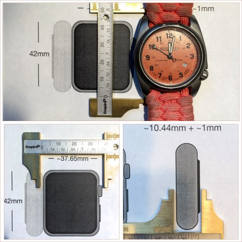 Image comparing actual Bertucci watch to PDF print of Apple Watch Dimensions