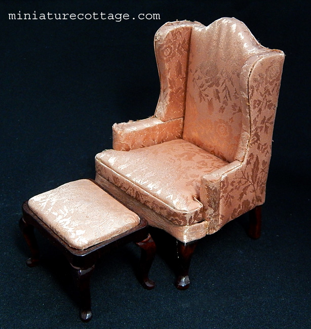 Vintage Wing Back Chair With Ottoman 1117002 1500