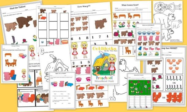 Goldilocks and The Three Bears FREE 15 Page Preschool Educational Pack