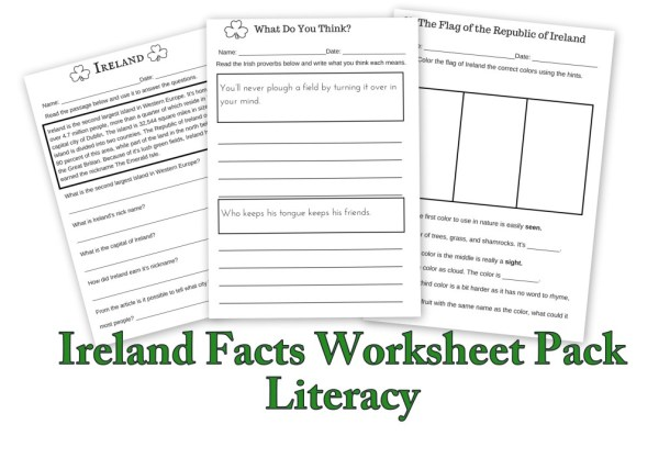 Ireland Facts Literacy Worksheets : Let's Learn about Ireland!