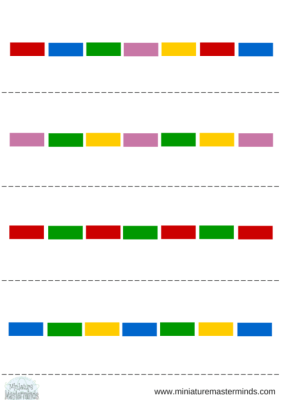 Rainbow Sequence Threading Toddler Activity with Free Printable Sequence Charts