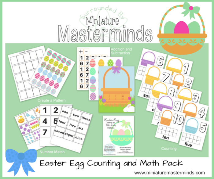 4 Free Easter Egg Counting and Math Activity Printables
