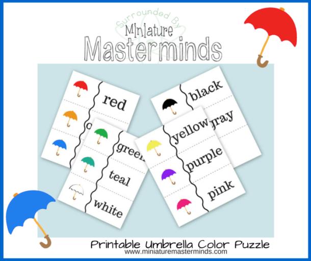 Free Printable Color Umbrella Puzzle