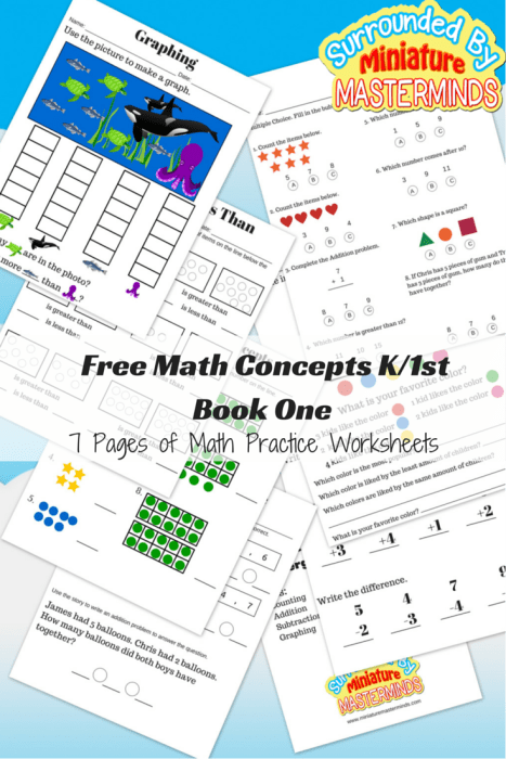 Free Math Concepts K-1st Book One7 Pages of Math Practice Worksheets