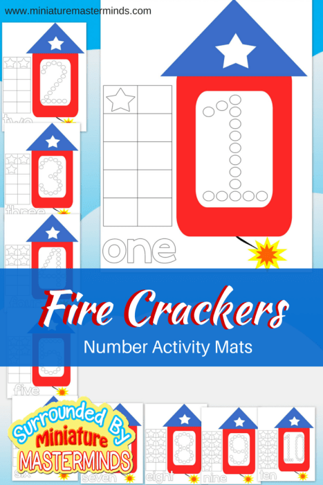 Free Printable Preschool Fire Crackers Number Activity Mats