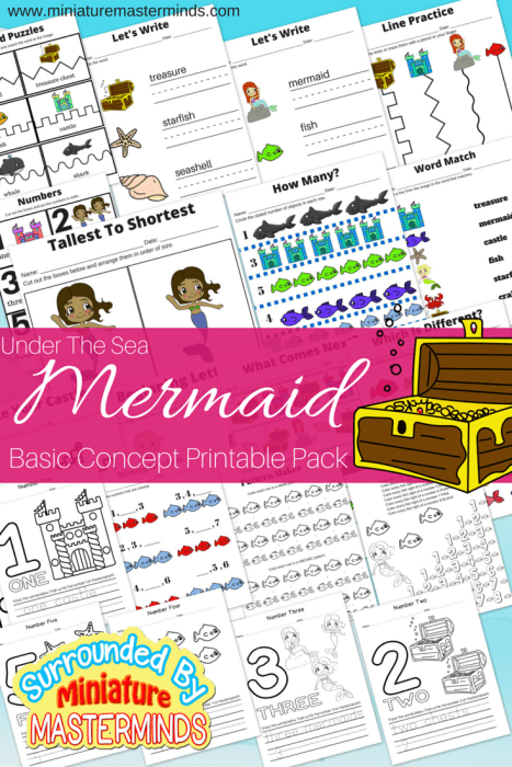 Under The Sea Mermaid Basic Concept Printable Pack