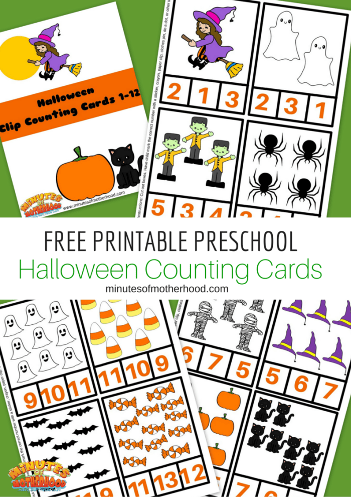 Free Printable Preschool Halloween Counting Cards 1 - 12