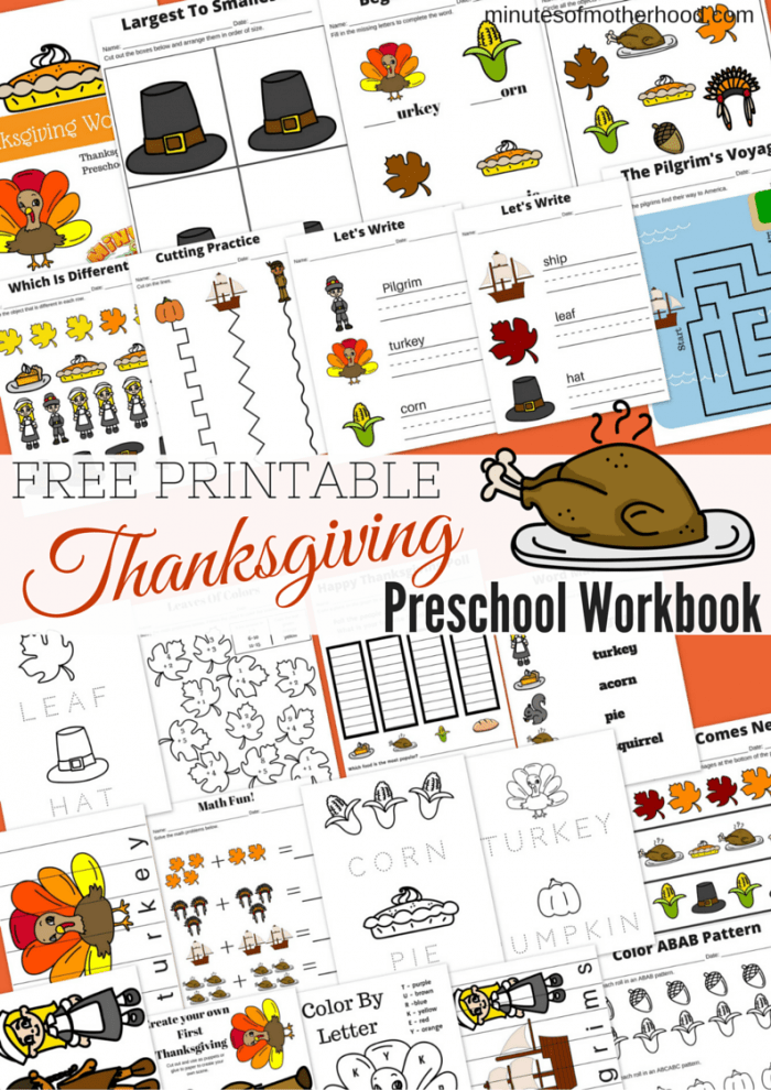 Free Printable Thanksgiving Day preschool workbook 21 pages puppets math mazes color by letter writing basic concepts