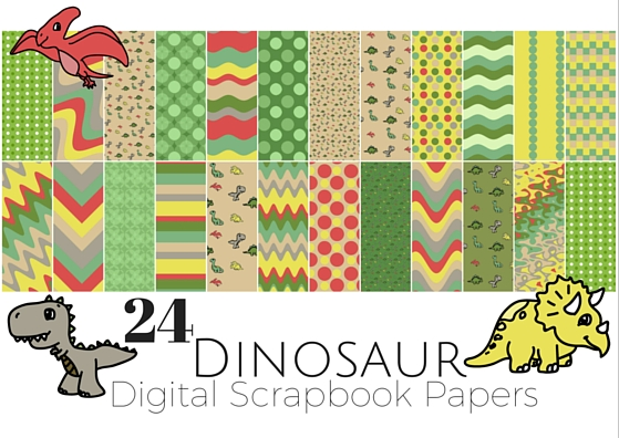 24 Dinosaur Digital Scrapbook Papers and backgrounds