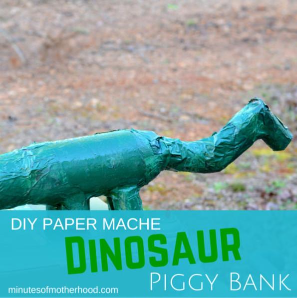 Dinosaur Paper Mache Piggy Bank DIY (1)