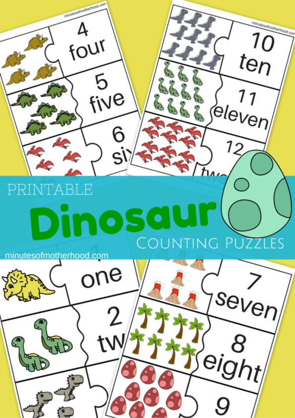 Free Printable 23 Page Dinosaur Counting Puzzles 1 - 12