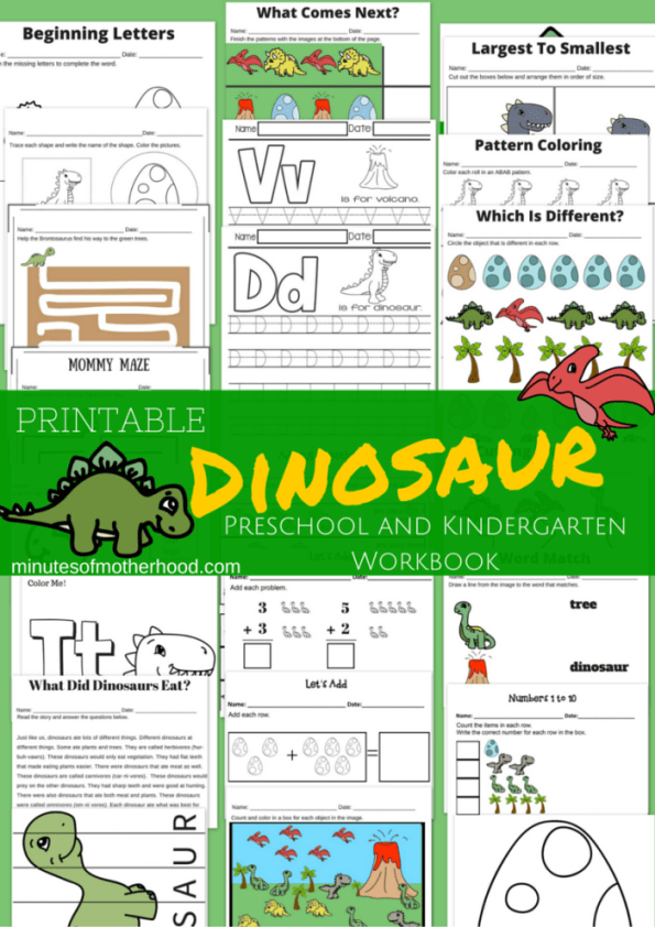 Free Printable 23 Page Dinosaur Workbook for Preschool and Kindergarten basic concepts