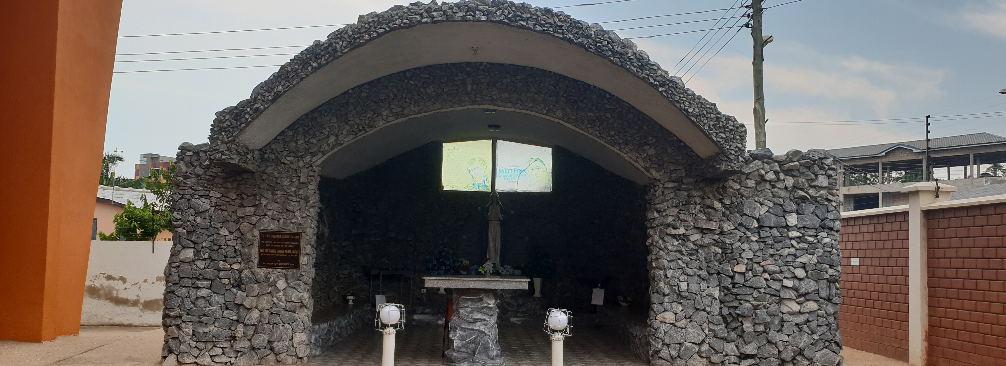 St Theresa Church grotto wide view