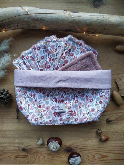panier-tissu-lingettes-coloris-fleurs-roses-interieur-rose