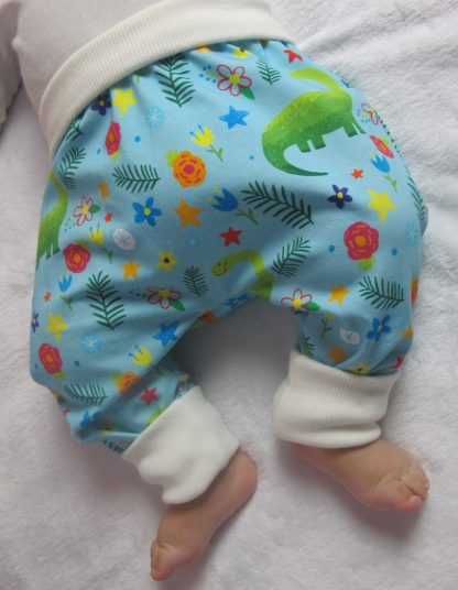 sarouel-evolutif-bebe-coton-dinos-colores-bleu-clair