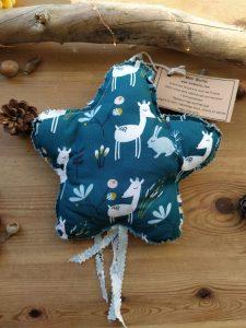 decoration-tissu-suspendre-etoile-faons-lapins-bleu-petrole