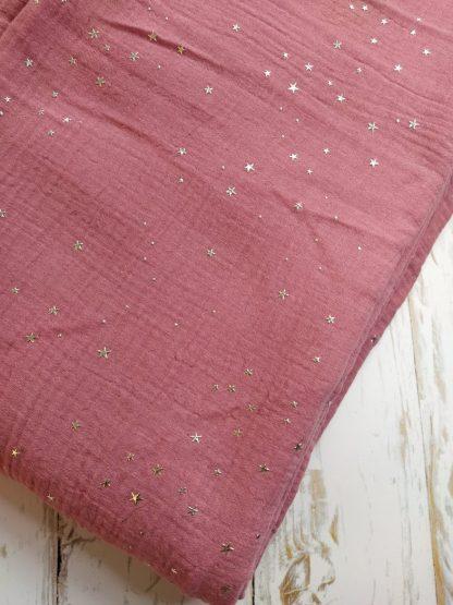tissu-double-gaze-coton-violet-etoiles-argentees