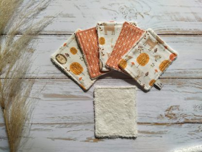 bebe-lingettes-lavables-coton-renards-feuillages-orange-bambou