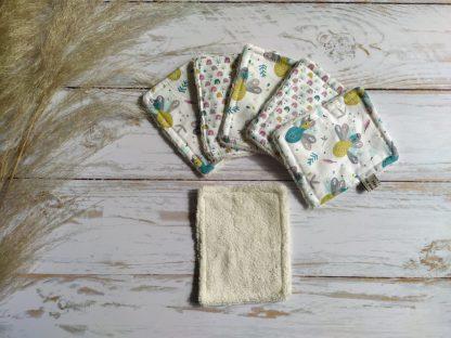 bebe-lingettes-lavables-bambou-coton-ecru-paons-arcs-en-ciel