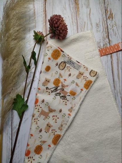 coton-bambou-renard-herisson-lapin-hibou-forêt-feuillage-orange