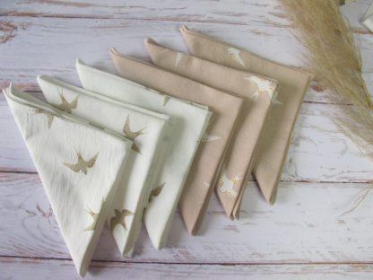 serviettes-table-coton-hirondelles