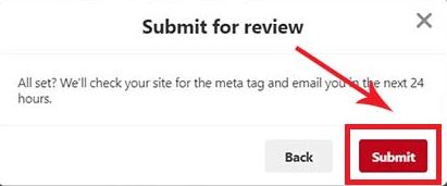 website verification on pintrest