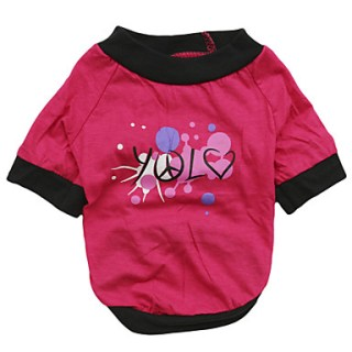 [USD $ 4.99]  - Lovely Plane Love Pattern 100% Cotton T-Shirt for Dogs (Pink XS-L)