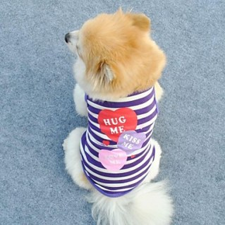 [USD $ 4.99]  - Lovely Three Heart Strip Pattern T-Shirt Vest for Pets Dogs (Assorted Colors, Sizes)