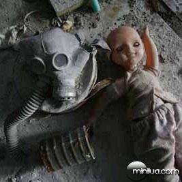 Chernobyl, Exclusion Zone, Ukraine. Dolls and gasmasks litter th