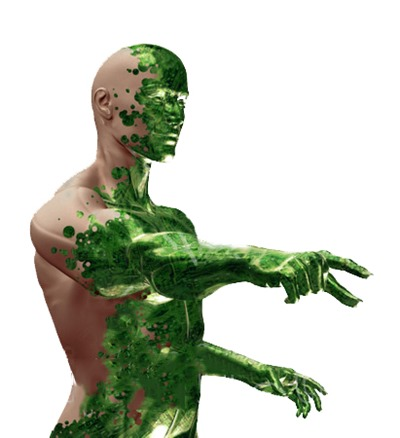 20422-Clipart-Illustration-Of-A-Half-Man-Half-Robot-With-Green-Circuit-Skin-Covering-His-Human-Skin-Pointing-Over-A-White-Background