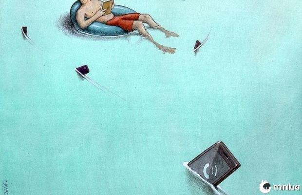 A ilustração de livro de leitura pessoa satírica perseguido por celular