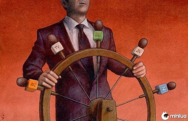 Ilustração política e da mídia satiric
