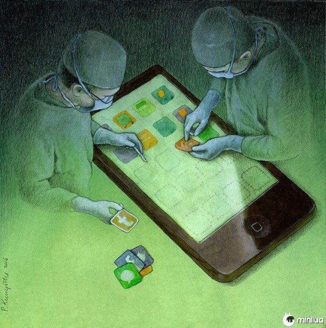 operação de extração satírico ilustração Apps