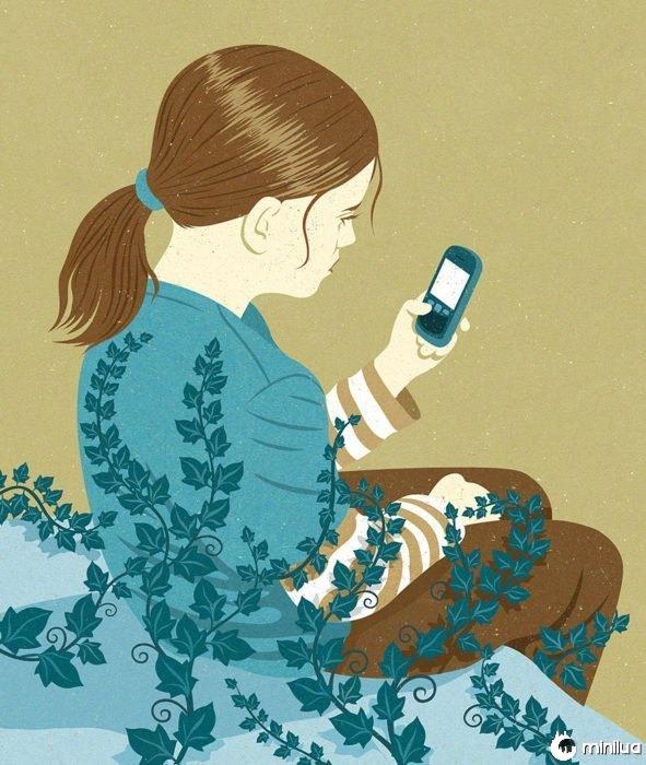 menina celular ilustração satírica enraizada