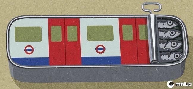 sardinhas metros satírico ilustração