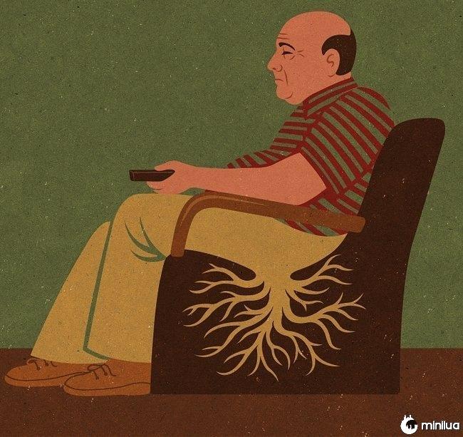 homem ilustração satírica enraizada para a cadeira