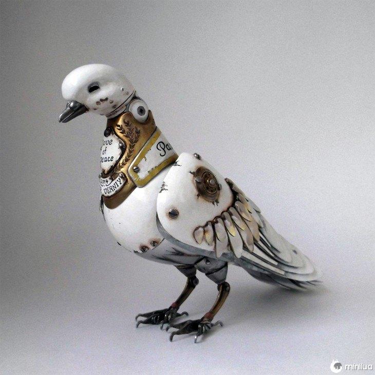 pomba branca feita de lixo Igor Verniy