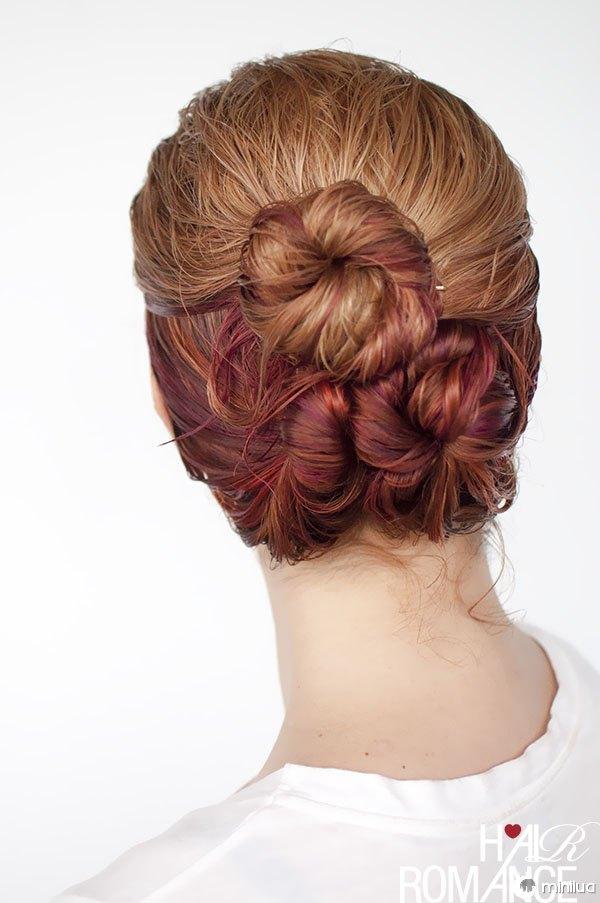 Hair Romance - wet hair styles - the loose triple bun