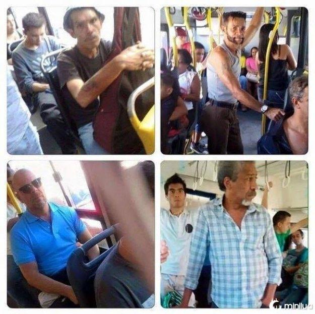 Seu Madruga encontrou Wolverine, Bruce Willis e Morgan Freeman no ônibus rumo a uma vida melhor.