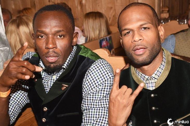 Usain Bolt e Germaine Mason em um bar
