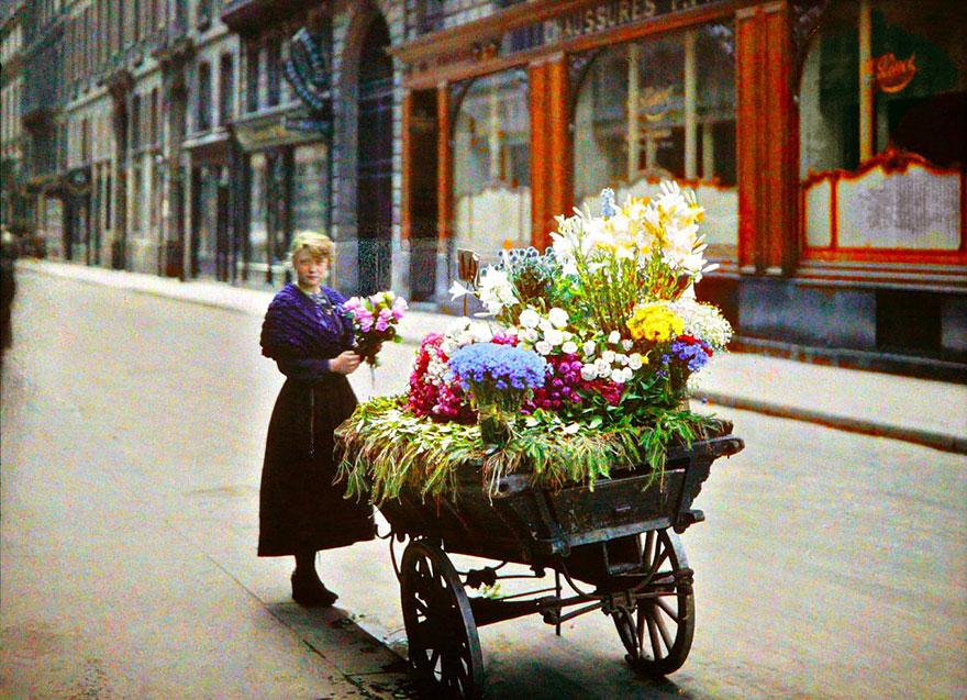 Flower Street Vendor, Paris, 1914
