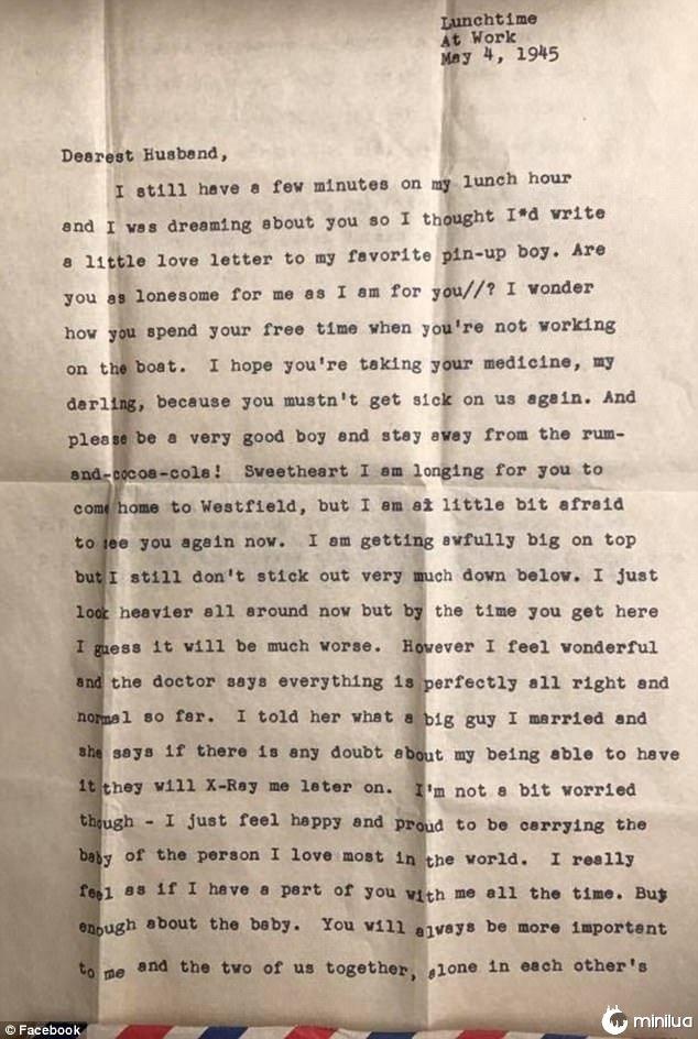 """A carta foi dirigida """"Querido, Marido"""", e assinou """"Até que a morte nos separe""""."""