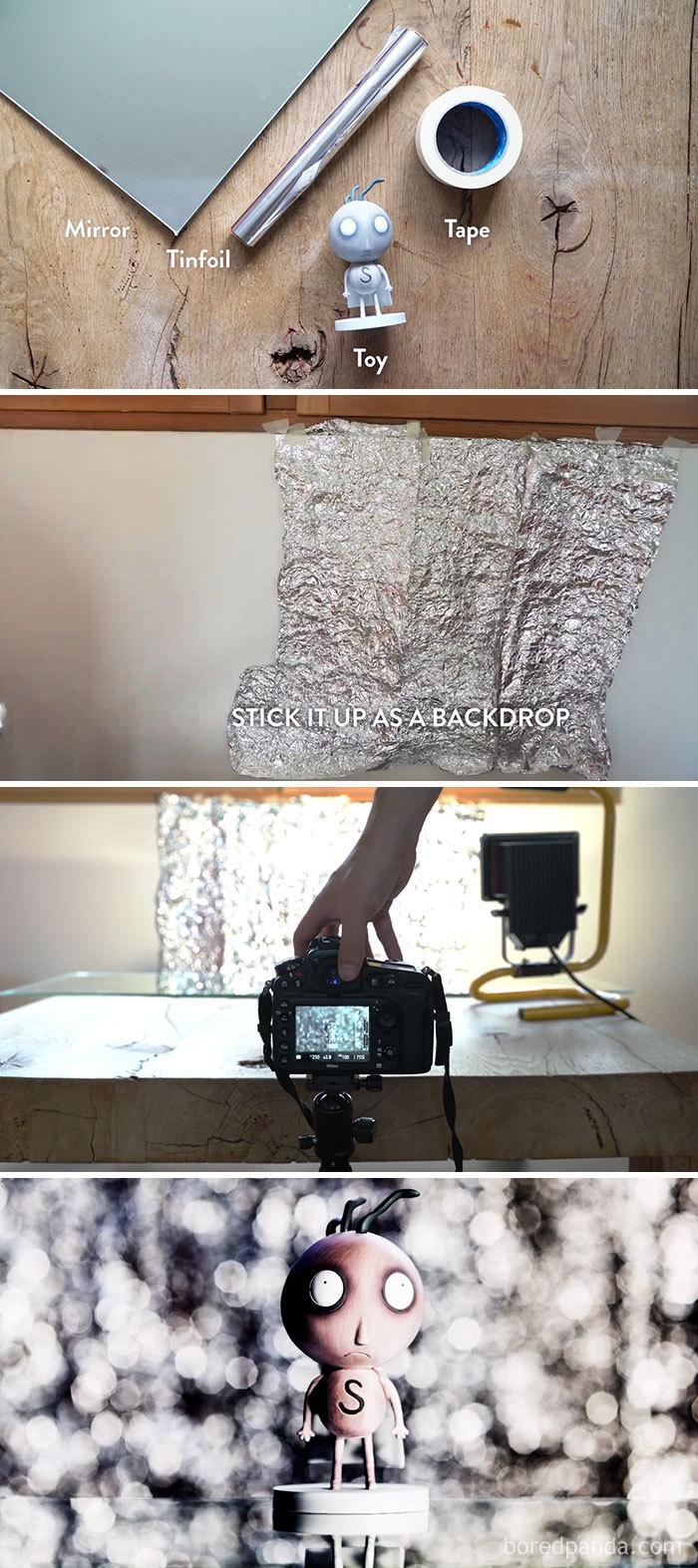 Use Tinfoil para criar uma parede de Bokeh