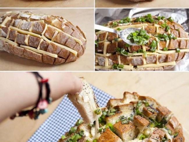 Pão recheado com queijo e cebolinha
