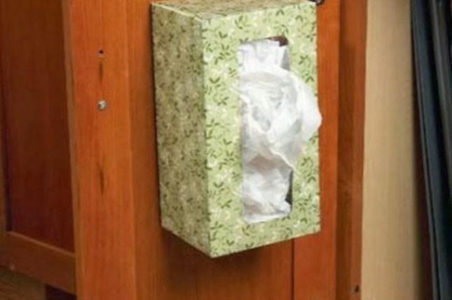 Caixa de lenços para organizar sacos de plástico