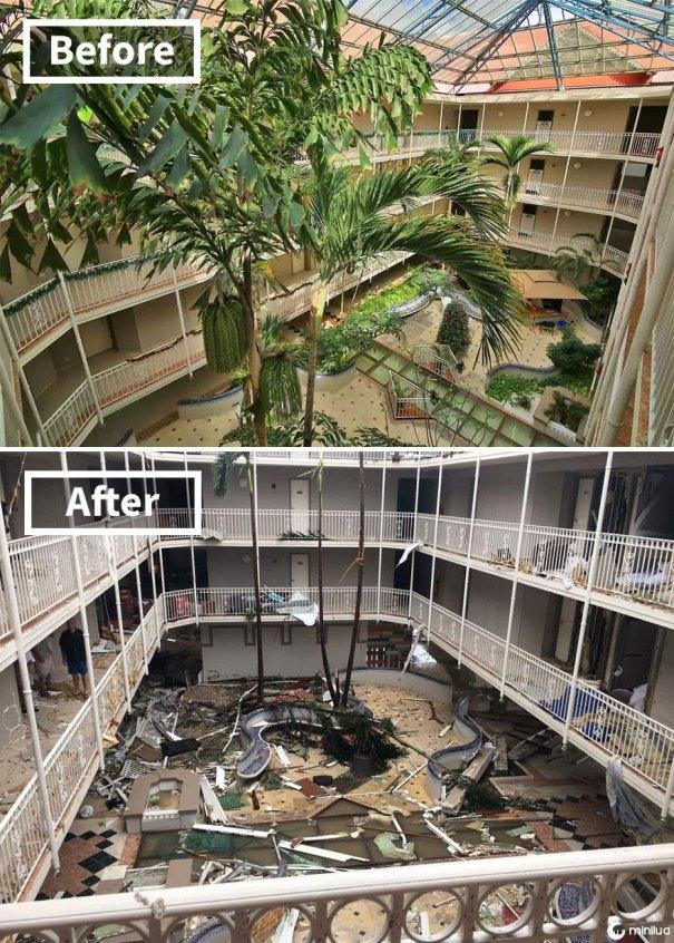 Beach Plaza Hotel em St Martin (Antes e Depois de Irma Damage)