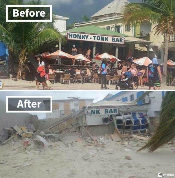 Bar Honk Tonk Popular em Philipsburg St Martin (Antes e Depois de Irma Damage)